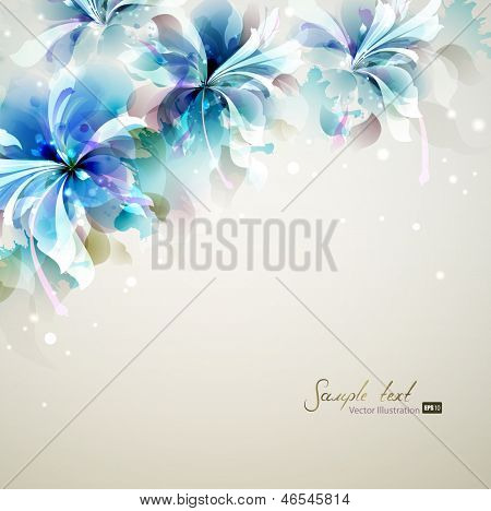Tender background with blue abstract flowers in the corner