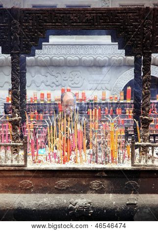Incense Sticks at a Buddhist Temple