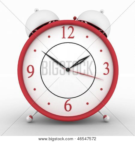 Red alarm clock. 3d isolated icon on white