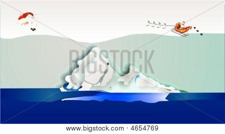 Santa With Sleigh Over Iceberg