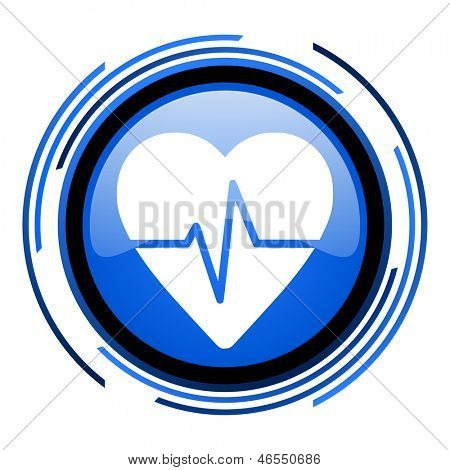 pulse circle blue glossy icon