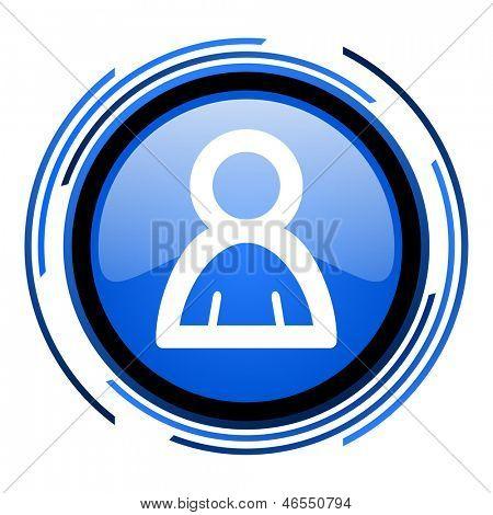 account circle blue glossy icon
