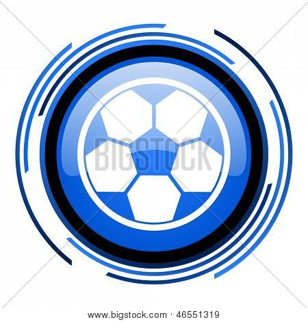 soccer circle blue glossy icon