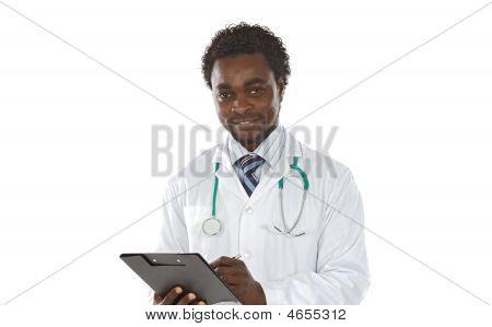 African American Man Doctor Writing