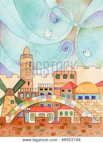 Jerusalem With Doves