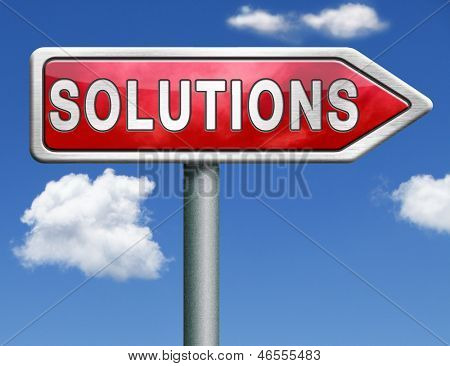 find solutions indicating way to problem solving solution button solutions icon red road sign arrow with text and word concept