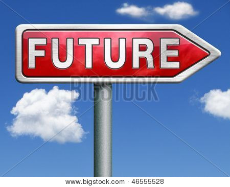 bright future ahead road sign indicating direction to planning a happy future having a good plan button icon red road sign arrow with text and word concept