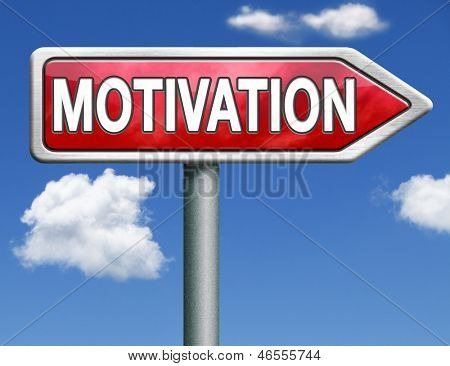 motivation and inspiration get inspired or inspire others give an energy boost optimistic red road sign arrow with text and word