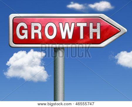 growth grow market stock or business development profit rise increase red road sign arrow with text and word