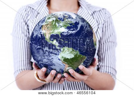 Close-up Of Earth In Woman's Hands