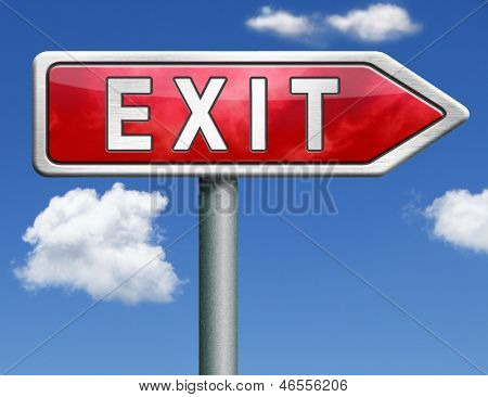 exit the way out to the finish exit door emergency door escape route leaving emergency exit guide pointing direction evacuate evacuation red road sign arrow with text and word concept
