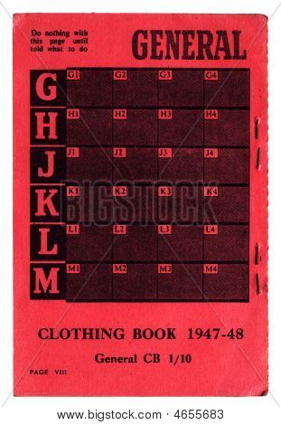 Rear Of Clothing Ration Book