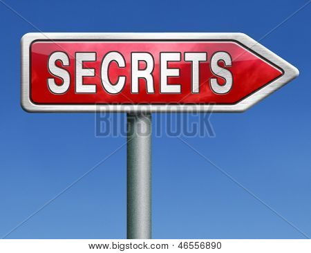 top secret secrets and classified info or confidential information red road sign arrow with text word concept