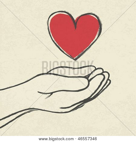 Heart in hands. Raster version, vector file available in my portfolio.