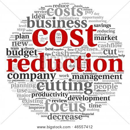 Costs reduction concept in word tag cloud