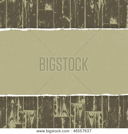 Torn paper on wooden background. Raster version, vector file available in portfolio.