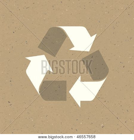 Recycled sign on reuse paper. Raster version, vector file available in portfolio.