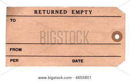 1930S Returned Parcel Tag