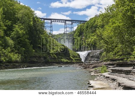 The Upper Falls And Railroad Trestle At Letchworth State Park