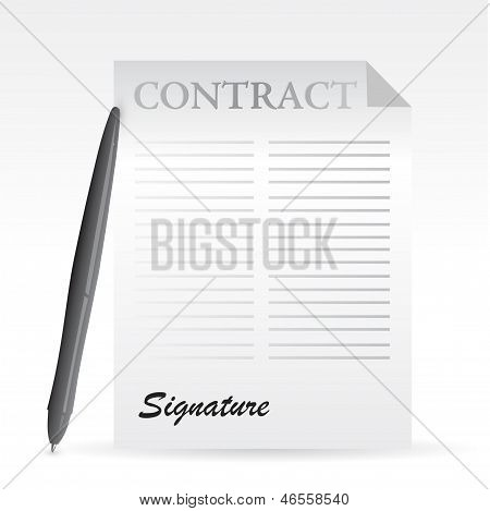 Contract And Pen. Illustration Design