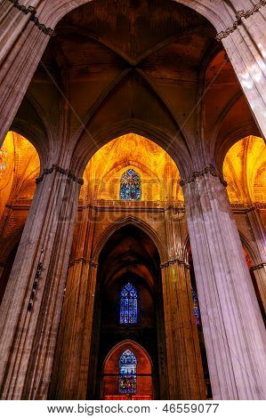 Stone Columns Stained Glass Cathedral Of Saint Mary Of The See Seville Spain