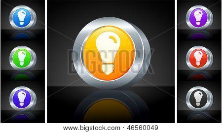 Lightbulb Icon on 3D Button with Metallic Rim Original Illustration