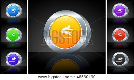 Long Jump Icon on 3D Button with Metallic Rim Original Illustration