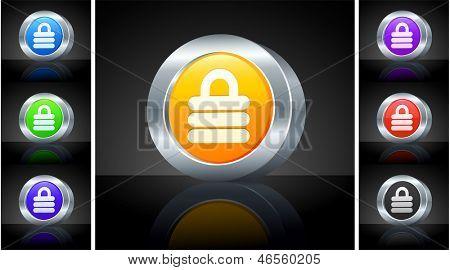 Lock Icon on 3D Button with Metallic Rim Original Illustration
