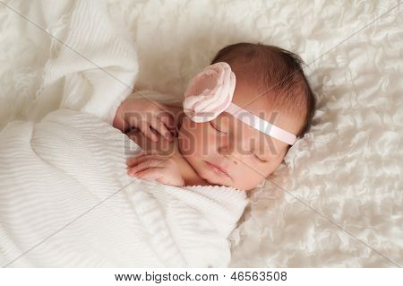 Portrait Of A Beautiful Newborn Baby Girl