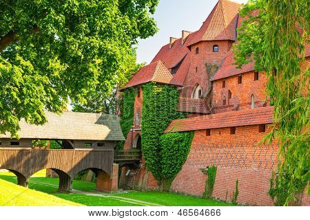 The wall and towers of Malbork castle in summer scenery, Poland