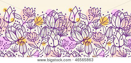 Purple line art flowers horizontal seamless pattern border