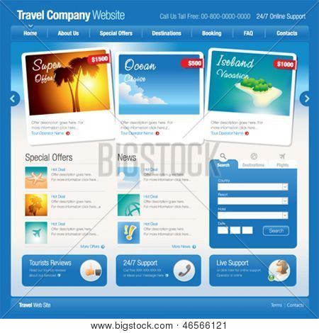 Vector website template 8: Tourism