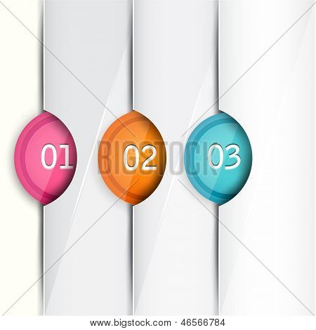 Set of colorful bookmarks, stickers, marks, tags. Numbered banners. Vector template for infographics