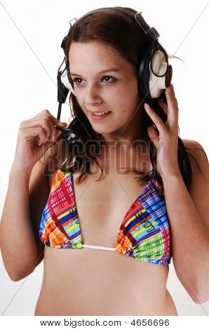 Young Woman With Earphones.