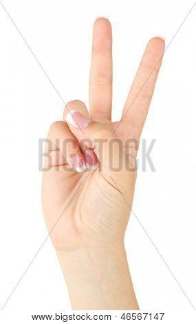 Finger Spelling the Alphabet in American Sign Language (ASL). Letter V