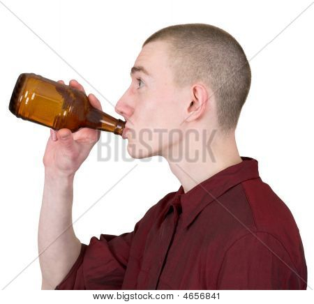 Young Man With Brown Bottle