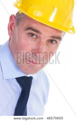 closeup portrait of a senior engineer looking serious at the camera . isolated on white background