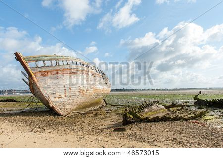 Rotting hull of a ship from an old shipwreck