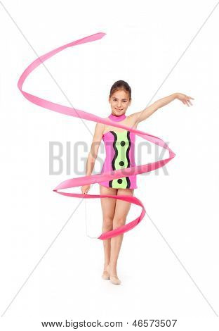 little rhythmic gymnast with ribbon