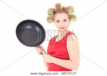 Housewife With Pan And Hair Curlers