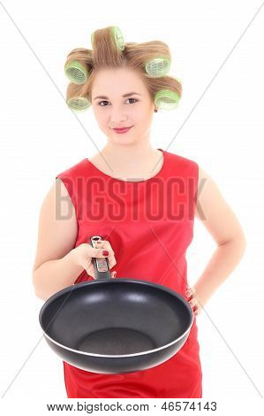 Funny Housewife With Pan And Hair Curlers