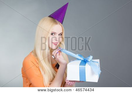 Portrait Of Young Beautiful Woman With Gift