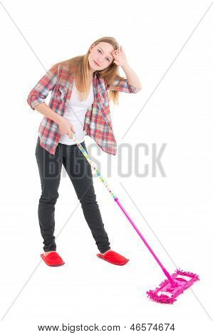 Tired Beautiful Girl With Pink Mop Isolated On White