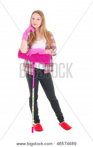 Young Attractive Housewife With Mop Isolated On White Background