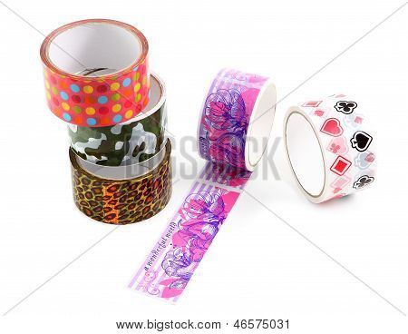 Packing Tape With Print. Masking Tape For Gift Wrapping. A Set Of Colored Packing Tape With A Decora