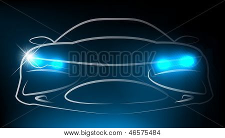 Silhouette of car with headlight. Vector illustration