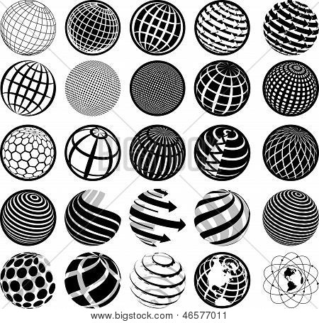 Black And White Icons Globe