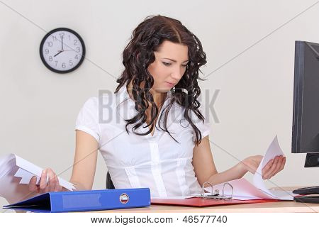Tired Business Woman Working With Documents