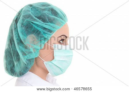 Close Up Portrait Of Young Female Doctor In Mask Over White