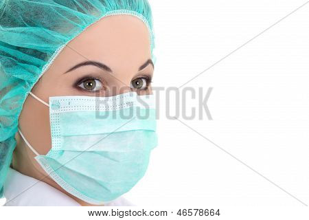 Female Doctor In Mask Over White - Close Up Portrait